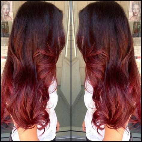 dark brown hair with light brown ombre 5 red highlights that will impress your friends