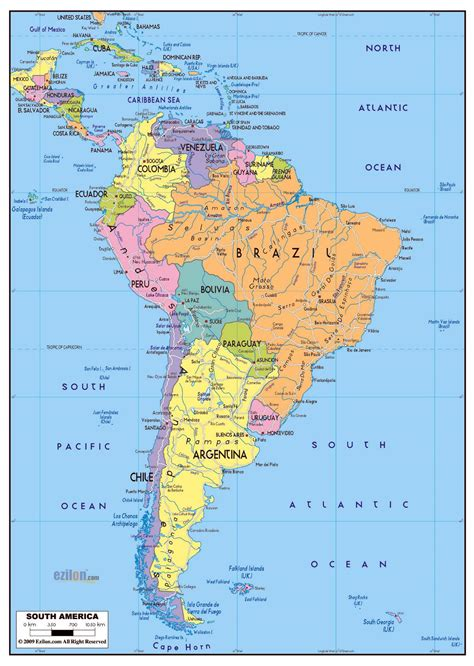large political map  south america  roads  major