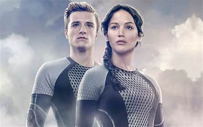 Katniss Peeta Hunger Games Fire Catching Wallpapers