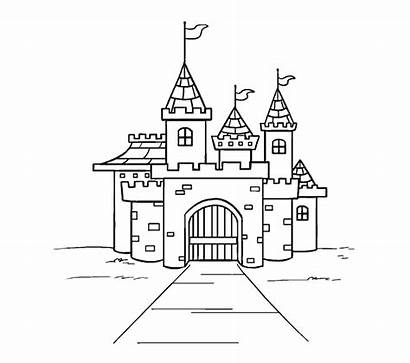 Castle Draw Cartoon Simple Palace Drawing Easy