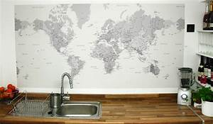 world map wallpaper used as a splashback eclectic With kitchen cabinets lowes with world map for wall art