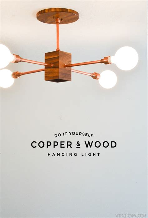 diy copper and wood hanging light fixture vintage