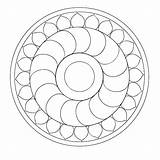 Mandala Coloring Simple Therapy sketch template