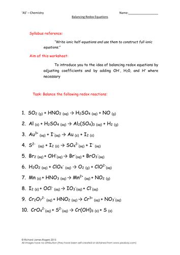 'as'  Chemistry Balancing Redox Equations Worksheet (with Answers) By Richardrogersscience