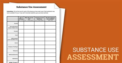 substance  assessment worksheet therapist aid