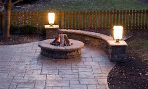 Fire pit patios stamped concrete patio with fire pit for Concrete patio ideas with fire pit
