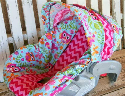 Owls And Pink Chevron Infant Car Seat Cover And Hood Cover