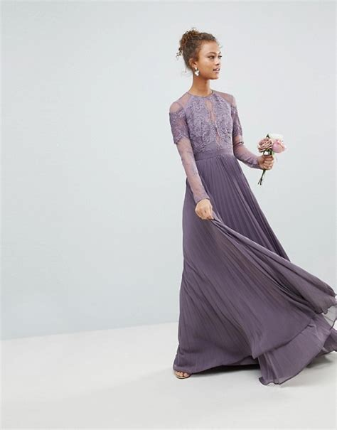 Asos Design Asos Bridesmaid Long Sleeve Lace Pleated