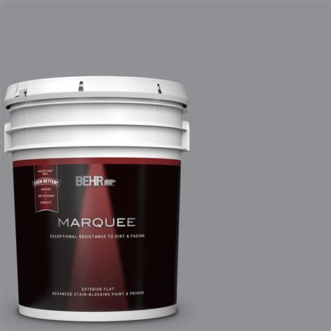 behr marquee 5 gal n520 4 cool ashes flat exterior paint and primer in one 445405 the home depot