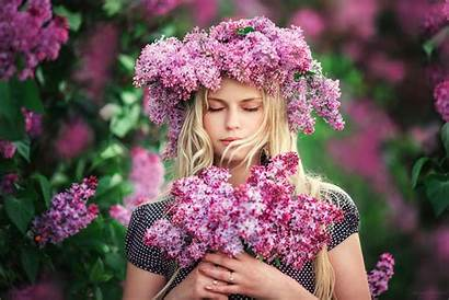 Flower Spring Woman Pink Lilac Flowers Hair