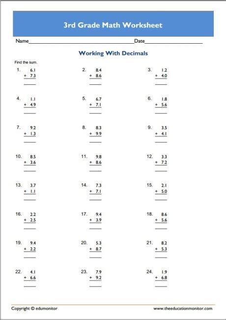free 3rd grade math worksheets pdf printable activities edumonitor