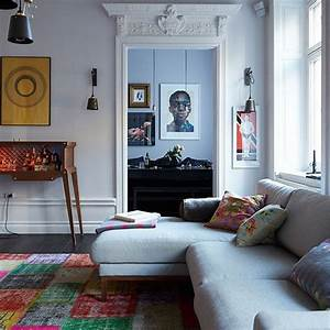 Eclectic living room with grey sofa Decorating
