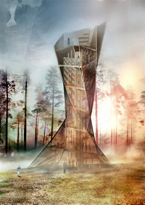 italian architects  build tree inspired lookout tower