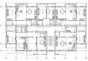 Apartment Building Plan Autocad Drawings Download  Free