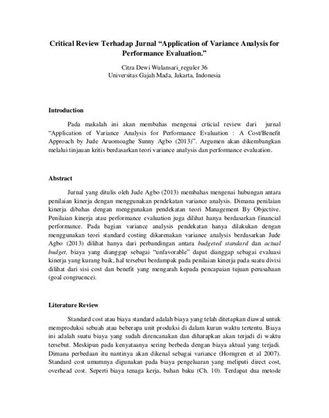 critical review jurnal variance analysis and performance