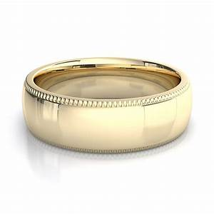6mm milgrain mens plain wedding band in 18k yellow gold With mens yellow gold wedding rings