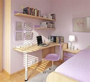 Jugendzimmer Mädchen Ideen : kleines jugendzimmer m dchen lila wandstreifen schreibtisch jugendzimmer pinterest ~ Indierocktalk.com Haus und Dekorationen