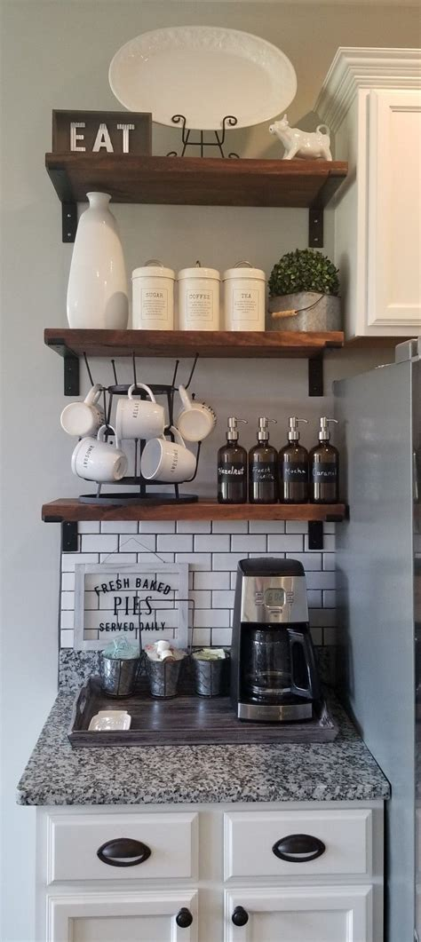 Here are some ideas to get you started. Coffee Bar in Kitchen- but with small drinks fridge beneath, and juicer and tea kettle here as ...