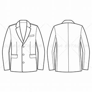 men39s business jacket fashion flat template illustrator With sports jacket template