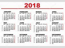 Rács naptár 2018 — Stock Vektor © orensila #117952282