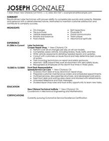 entry level automotive technician resume sles unforgettable lube technician resume exles to stand out myperfectresume