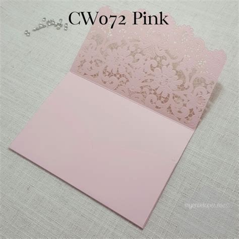 Z-cw072p Pink Pocket Lasercut Wedding Invitation Cover