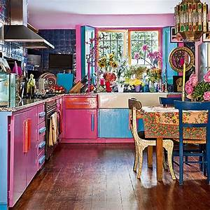 Eclectic pink and blue kitchen