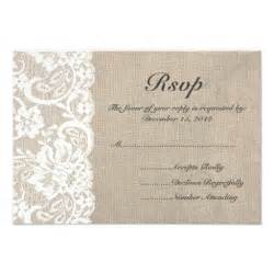rsvp wedding cards white lace and burlap wedding rsvp card 3 5 quot x 5 quot invitation card zazzle
