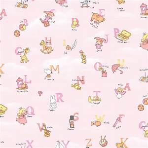 Pink alphabet pattern self adhesive baby room wallpapers