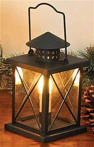 11quot black metal electric lantern with glass decorative for Table lamp electrical kits