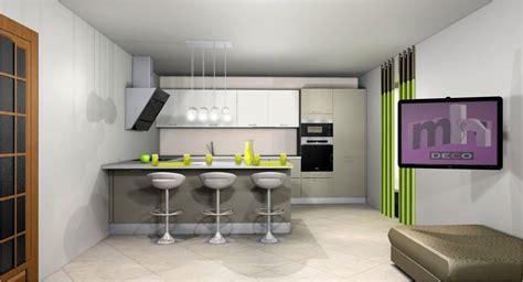 idee deco cuisine ouverte sur salon cuisine en image
