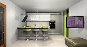 Idee deco cuisine ouverte sur salon cuisine en image for Idee deco cuisine avec meuble salle a manger et salon