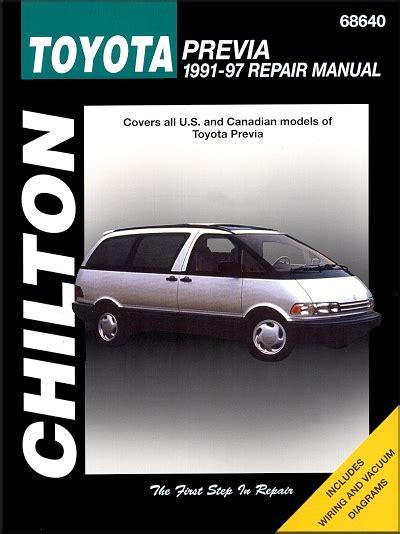 car maintenance manuals 1997 toyota previa user handbook toyota previa repair service manual 1991 1997 chilton 68640