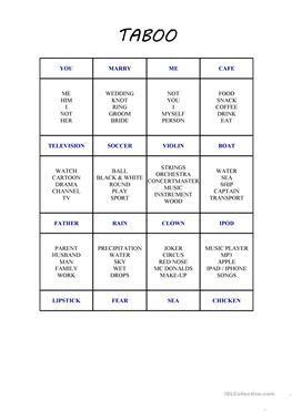esl taboo worksheets
