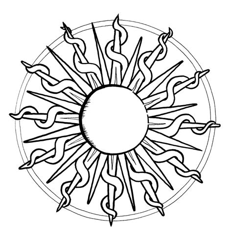 Mandalas Para Pintar: Sol de fuego