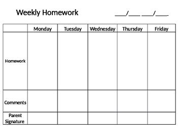 weekly homework template  sailing  fourth tpt