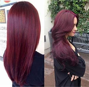 Red violet hair color with highlights in 2016, amazing ...