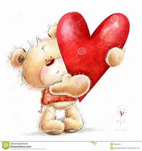 Teddy Bear With The Big Red Heart.Childish Illust Stock ...