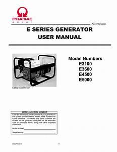 Pramac Portable Generator E Series Generator User U0026 39 S Manual