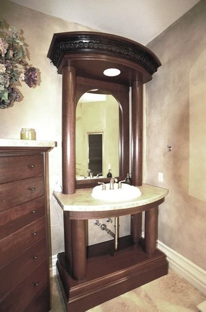 traditional style cherry wood guest bathroom vanity