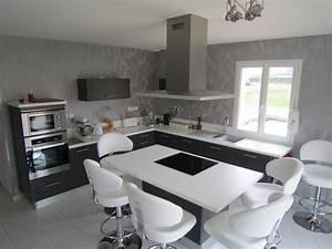 awesome cuisine noir plan de travail bois blanc images With idee deco terrasse jardin 11 cuisine wenge noir
