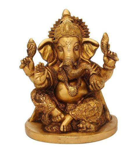 Buy Glossy Brass Hand Carved Ganesha Statue Idol Figure by