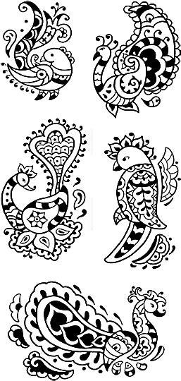 Anna Pomaska's Children's Art Portfolio - Bird Henna Tattoos