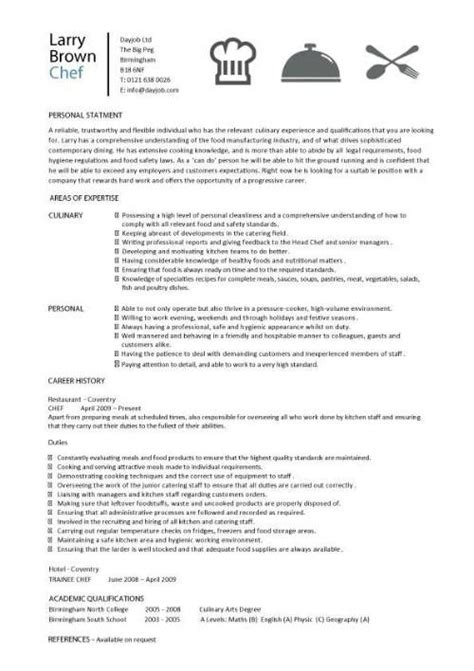 Cv Format For Cook by Chef Resume Sle Exles Sous Chef Free