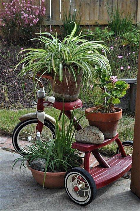 Repurposed Tricycle Garden Plant Stand Put This