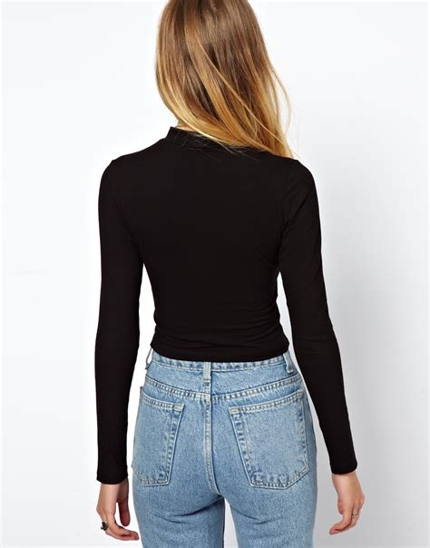 Lanston Boat Neck Crop Top by Lyst Asos Crop Top With Sleeves And Turtle Neck In