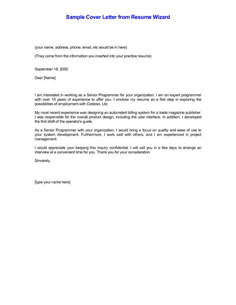 A Cover Letter For A Resume by Cover Letter Sles Of Cover Letters For Resumes With