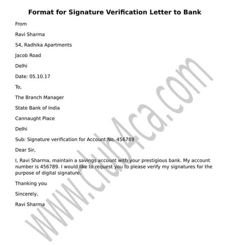 signature verification letter  submit  bank