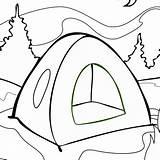 Tent Camping Coloring Getdrawings sketch template