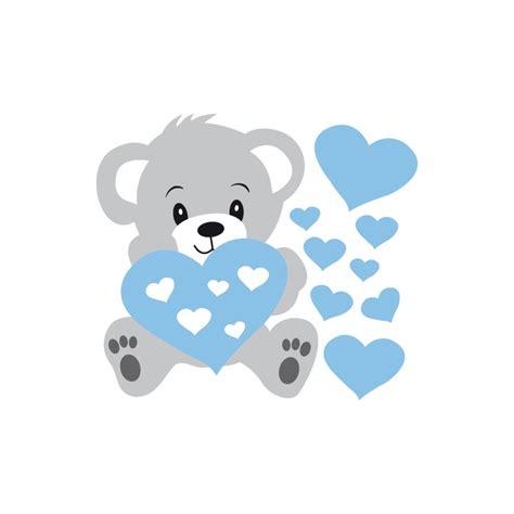 cadre déco chambre bébé stickers nounours gris et coeurs bleus pour bébé garçon
